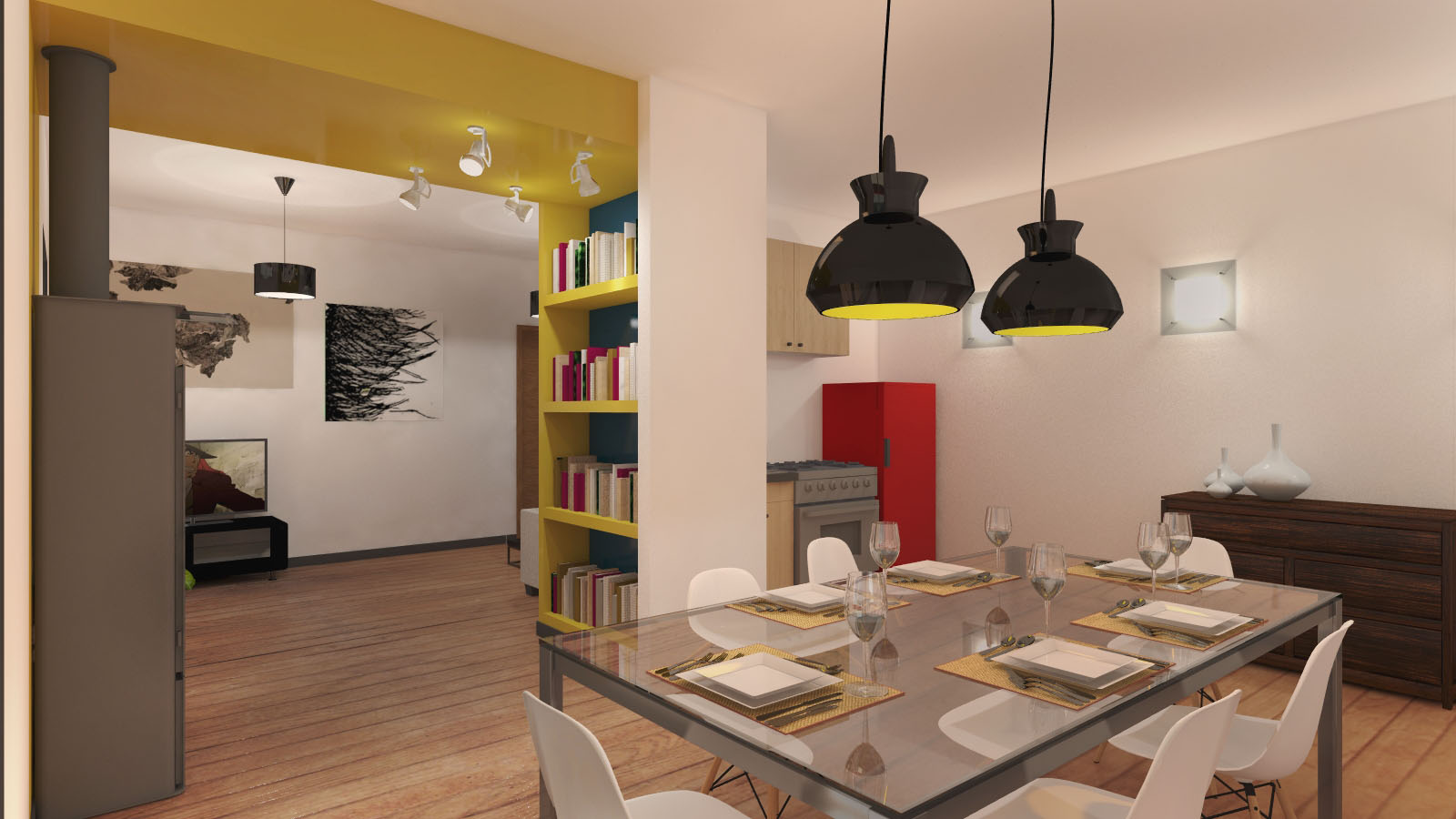 immagine di progetto - vista dalla zona pranzo
