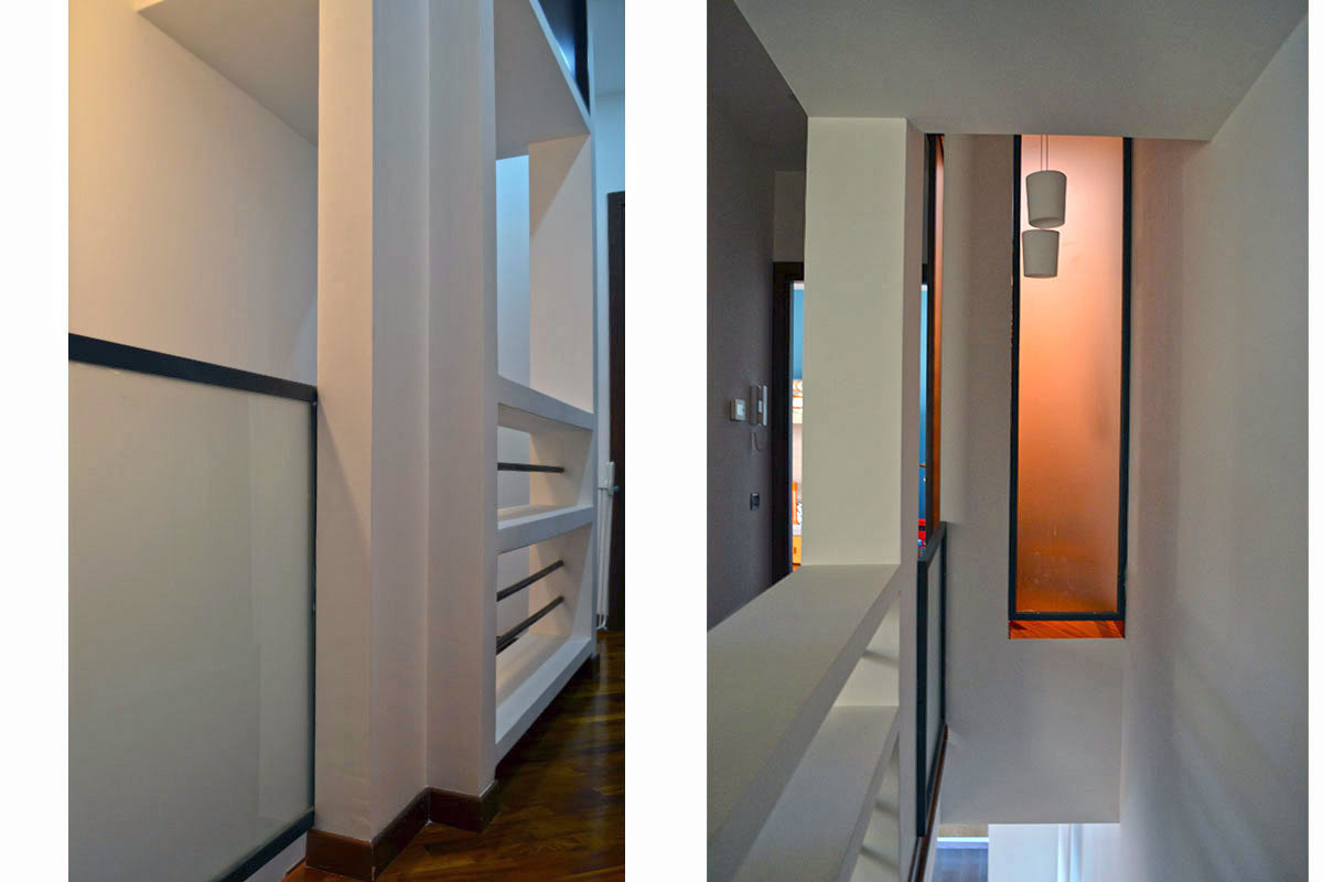 due immagini della scala e del corridoio adiacente (piano 1)