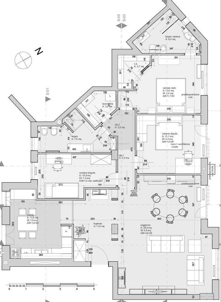 Casa SG - pianta architettonico e arredi - architetturaincasa