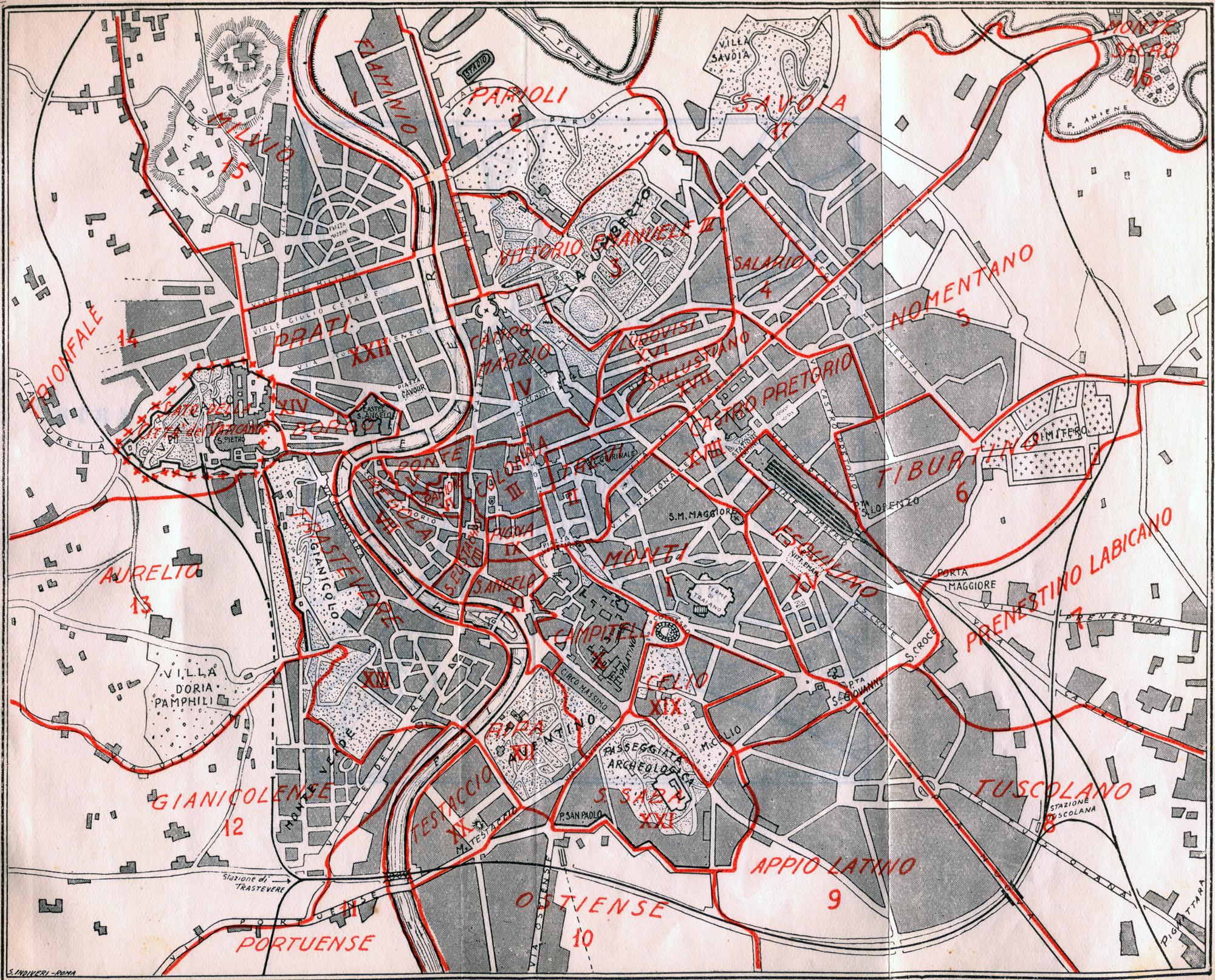La distribuzione dei quartieri intorno al 1930.