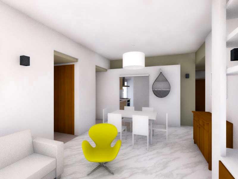 Due colori bianco e verde alloro (render studio del soggiorno con arredi)
