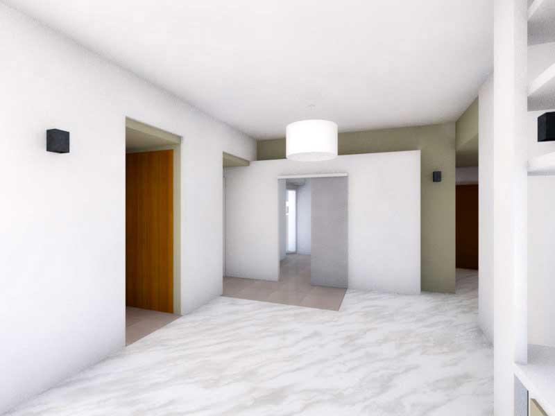 Due colori bianco e verde alloro (render studio del soggiorno)