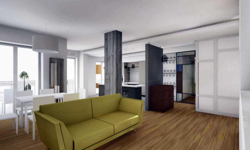 casa F soggiorno - immagine fotorealistica di progetto
