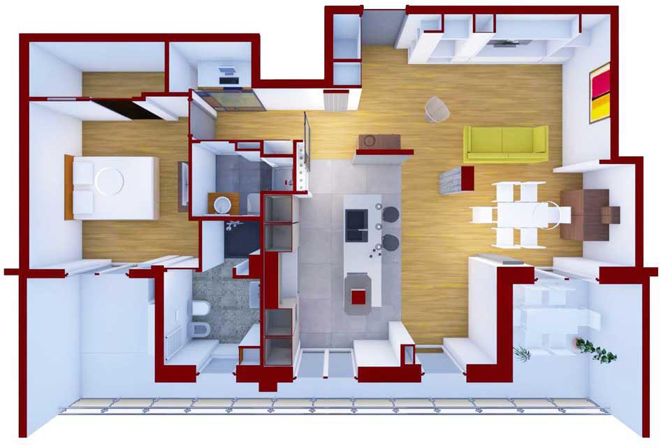 pianta 3d dell'appartamento - architetturaincasa