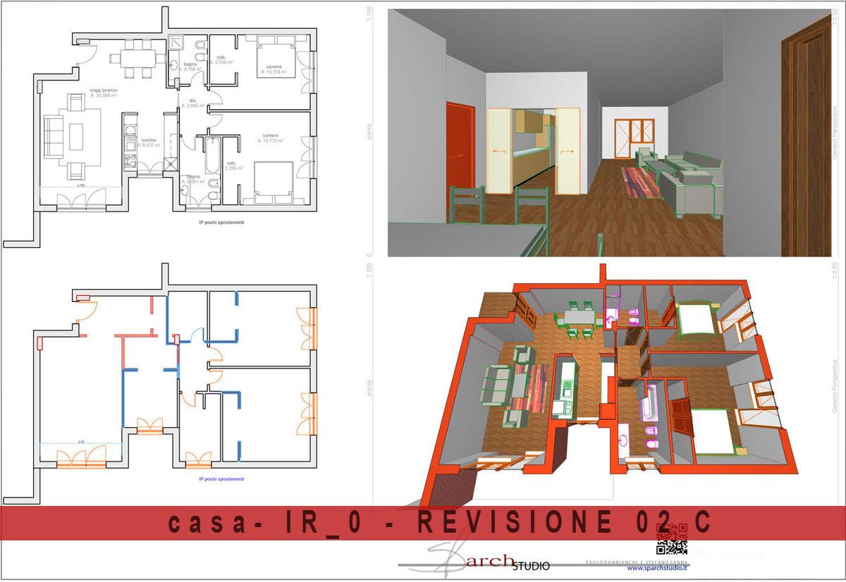 IPOTESI 02C Rielaborazione e semplificazione dell'ipotesi 1C la cucina può essere chiusa con una doppia porta scorrevole, le cabine armadio delle camere vengono riposizionate.