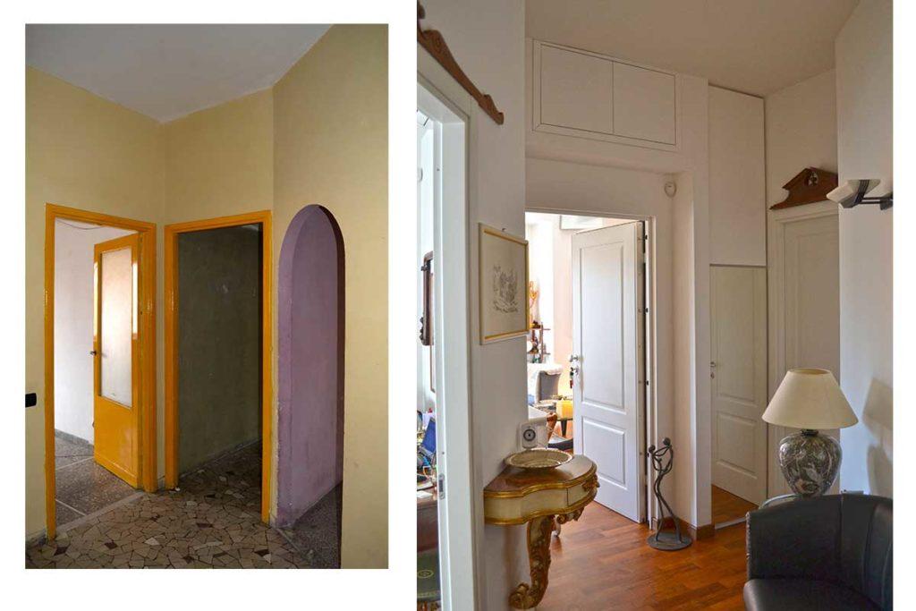 casa M - l'ingresso prima e dopo