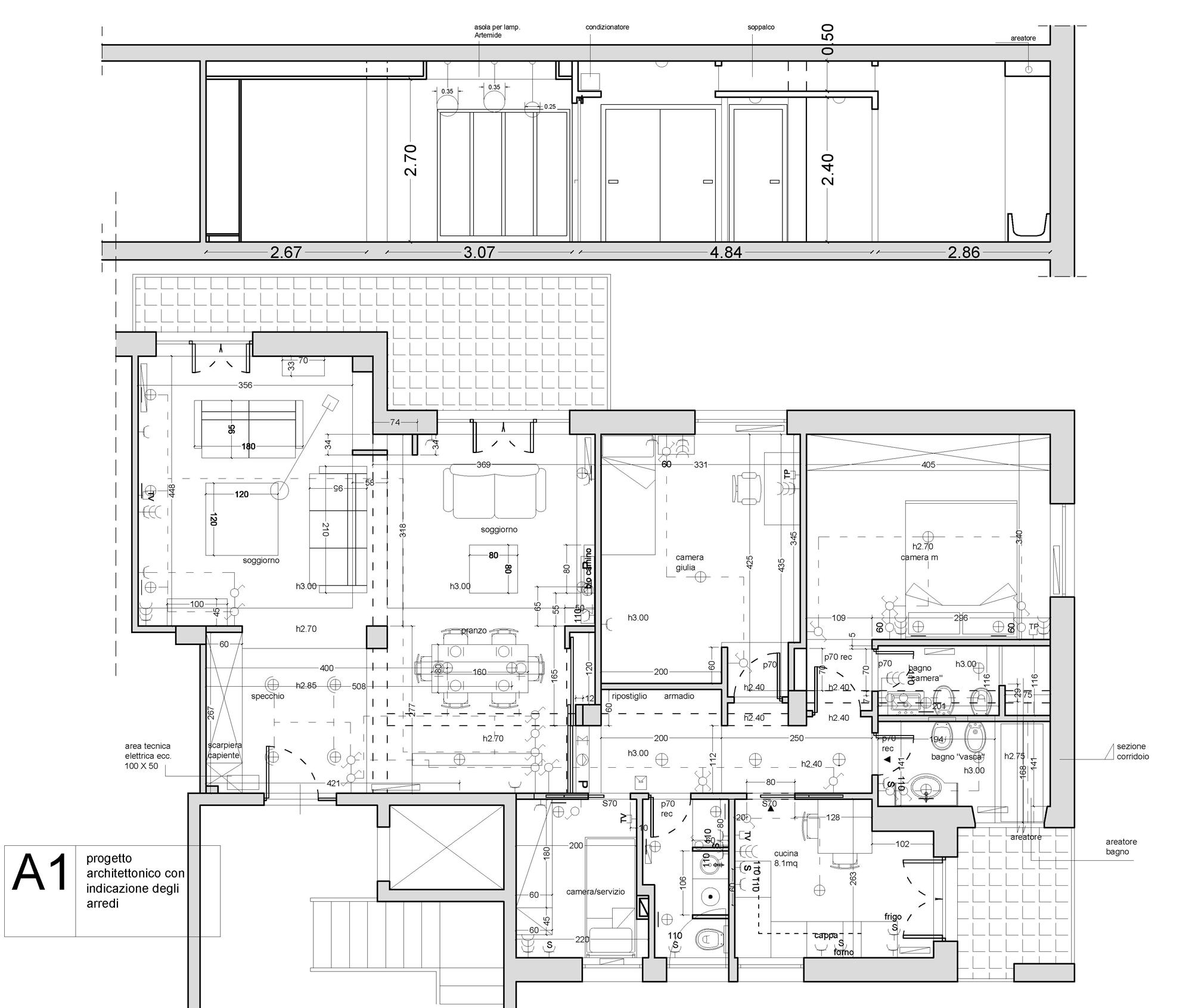 casa-VFG - planimetria di progetto - Il progetto consiste nella riconfigurazione dell'intero appartamento tramite una diversa distribuzione degli interni. Così sono stati realizzati tre nuovi bagni; ma soprattutto è stata rivoluzionata la zona giorno per renderla più rispondente alla volontà della committenza.