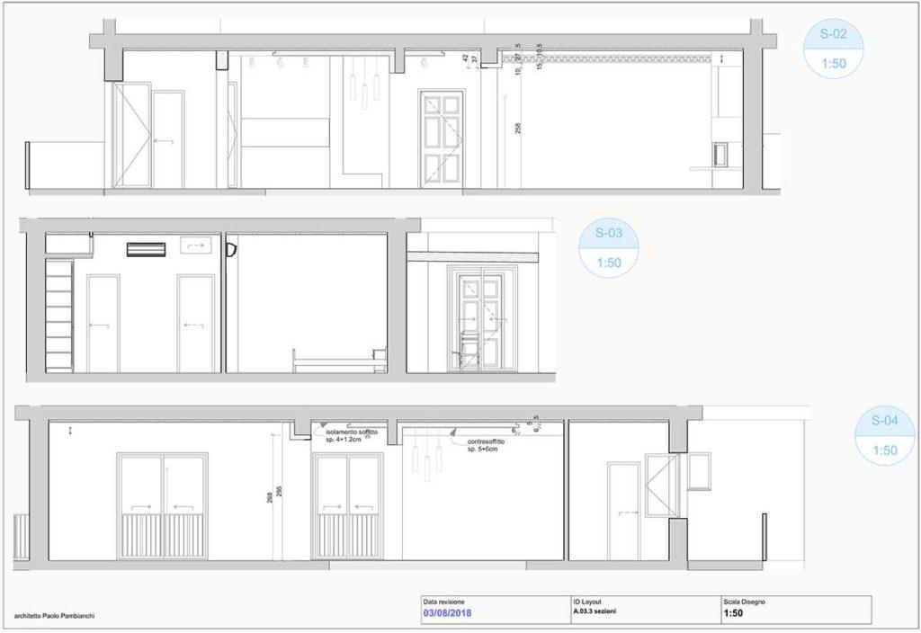 casa AI - Disegni di progetto, sezioni.