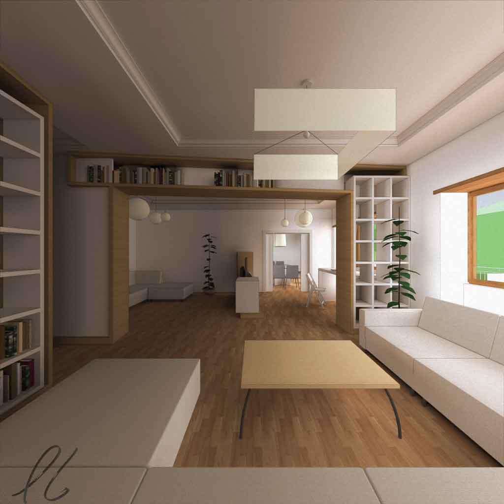 librerie e mobili, gli elementi di arredo laccati bianco ritornano ad un giacitura normale, leggermente traslata, creando puntualmente filtri visivi