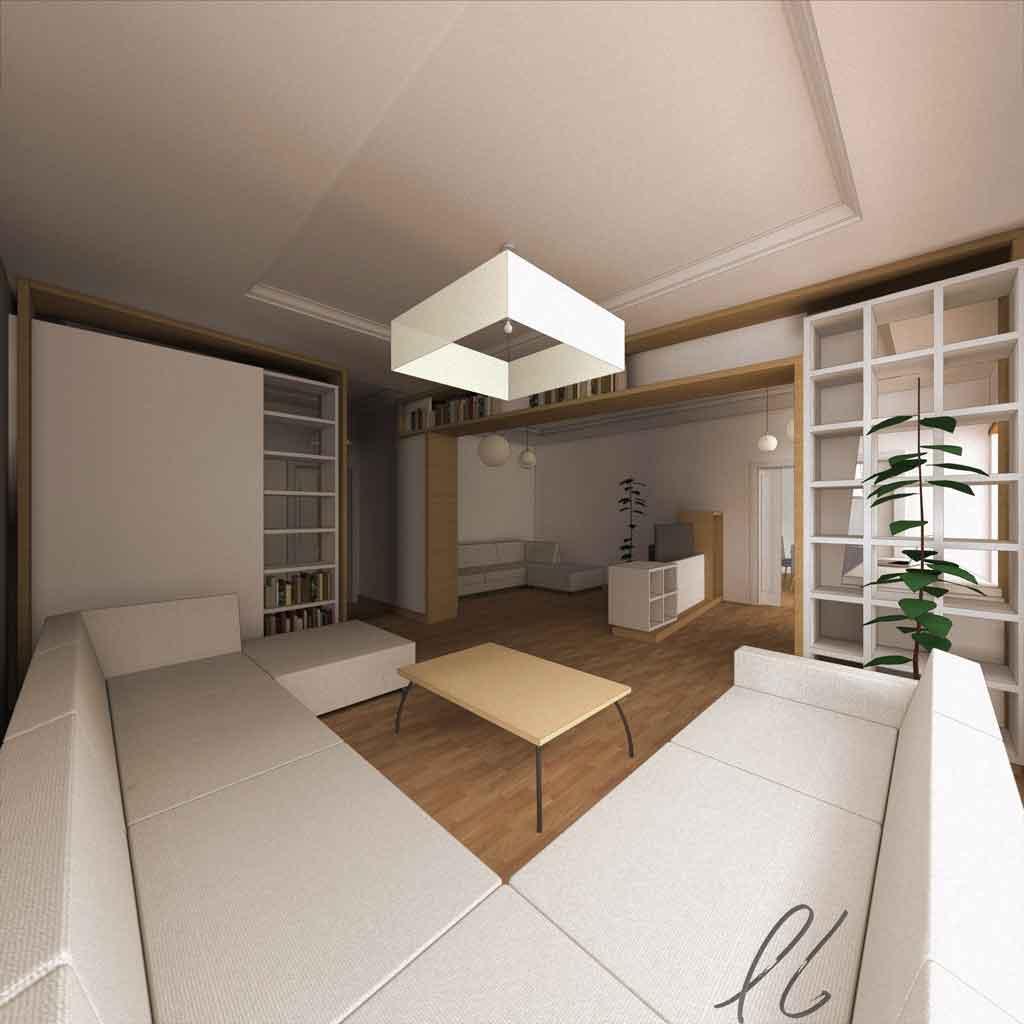 la decorazione a soffitto definisce ed evidenzia i tre singoli ambiti con elementi centralizzanti come i punti luce e le cornici