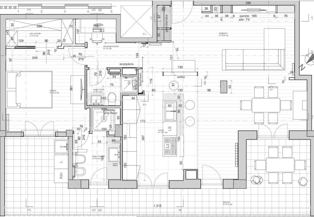 casa F, planimetria architettonica di progetto