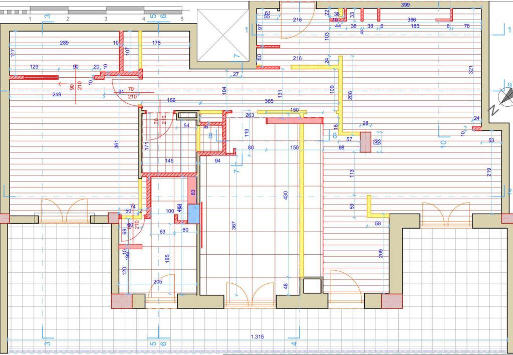 casa F, planimetria con indicazione delle demolizioni e delle nuove costruzioni