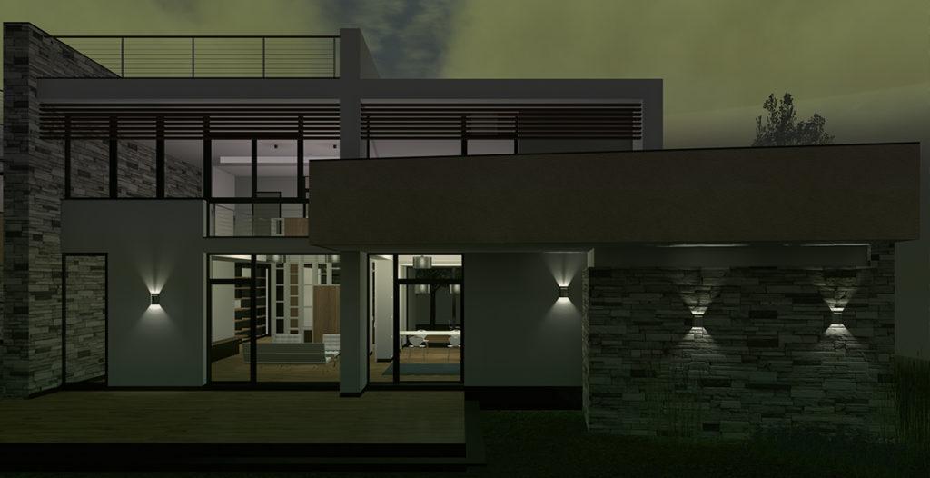 Villa AF – vista notturna dell'esterno