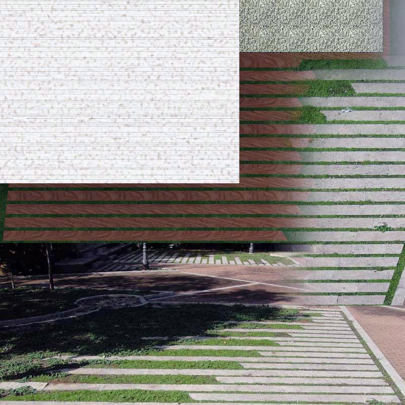 studio dei rapporti dimensionali delle tessiture delle strutture esistenti e di quelle di progetto (pianta)