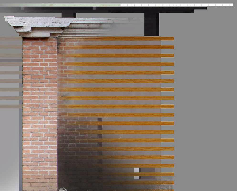 studio dei rapporti dimensionali delle tessiture delle strutture esistenti e di quelle di progetto (prospetto)
