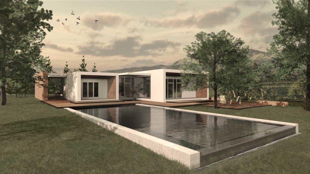 Villa B - Orientamento bioclimatico - vista di progetto