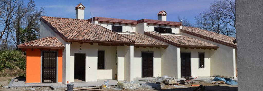 Esterno in costruzione - Casa LCN2 – Bioedilizia Villino Bifamiliare